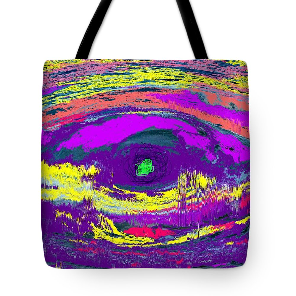 Abstract Tote Bag featuring the digital art Crocodile Eye by Ian MacDonald