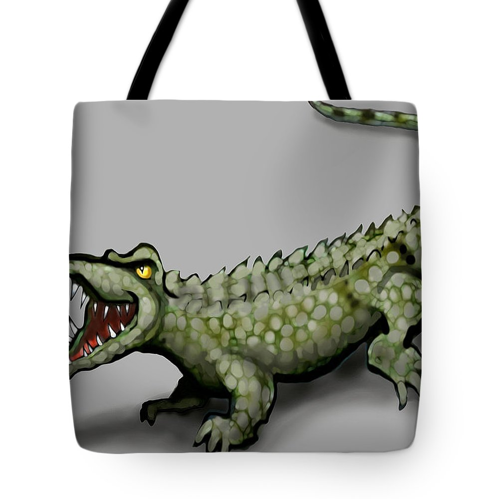 Crocodile Tote Bag featuring the greeting card Crocodile by Kevin Middleton