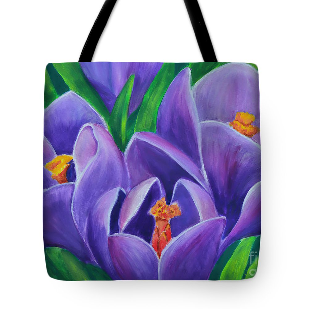 Crocus Flowers Tote Bag featuring the painting Crocus Flowers by Olga Hamilton