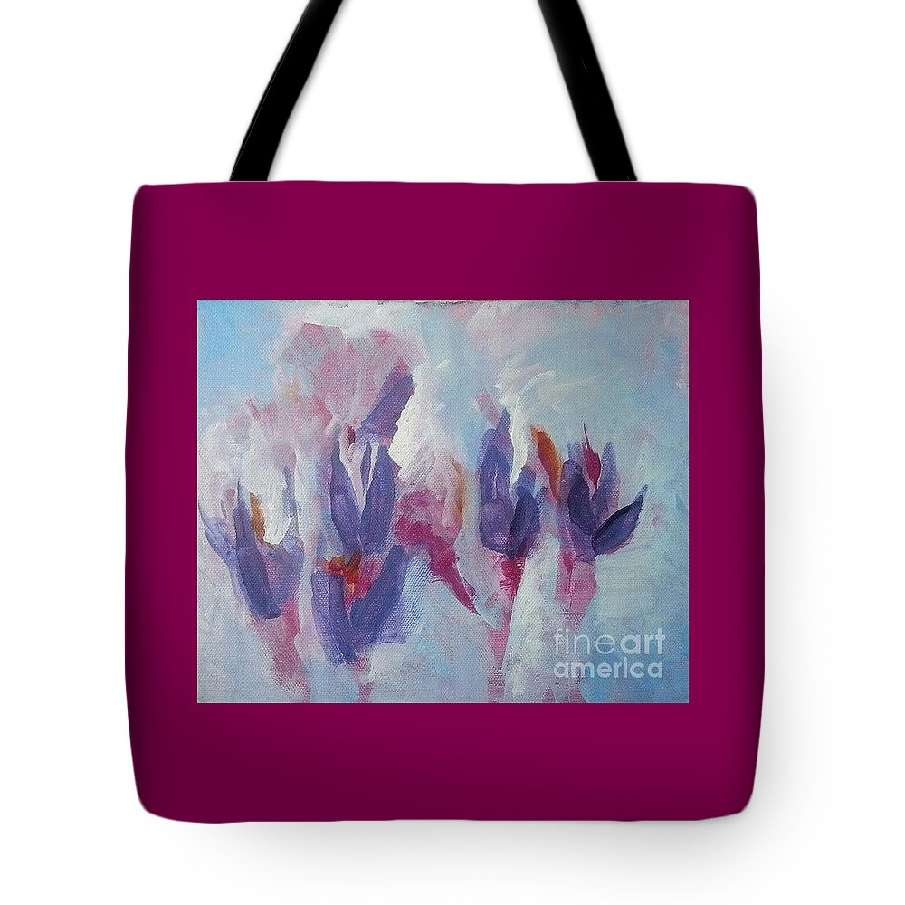 Blue Tote Bag featuring the painting Crocus In Winter by Patty Mowatt