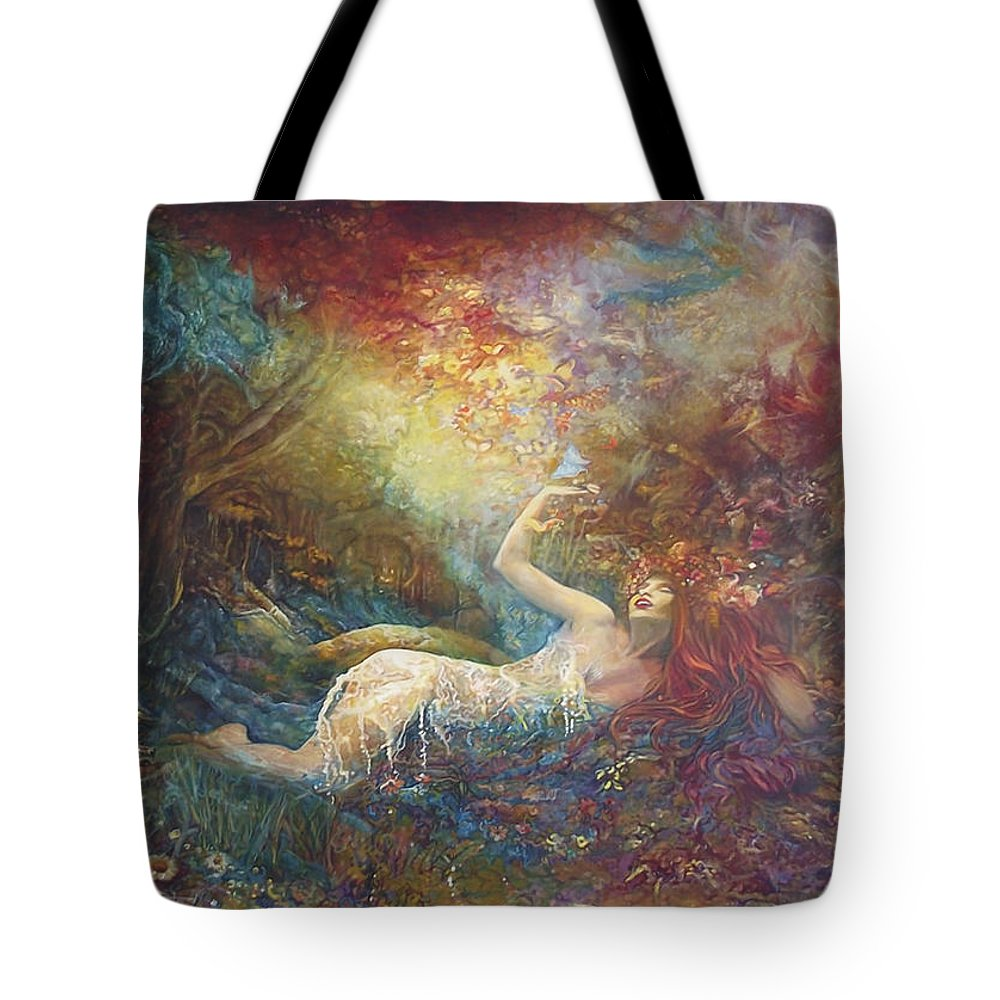 Cronos And Rhea Nymph By Safir And Rifas Tote Bag featuring the painting Cronos And Rhea Nymph by Safir Rifas