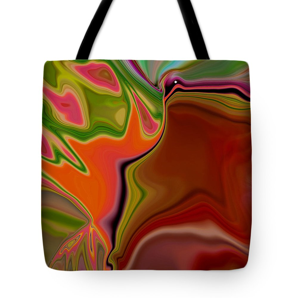 Abstract Tote Bag featuring the digital art Crooked Billed Bird by Ruth Palmer