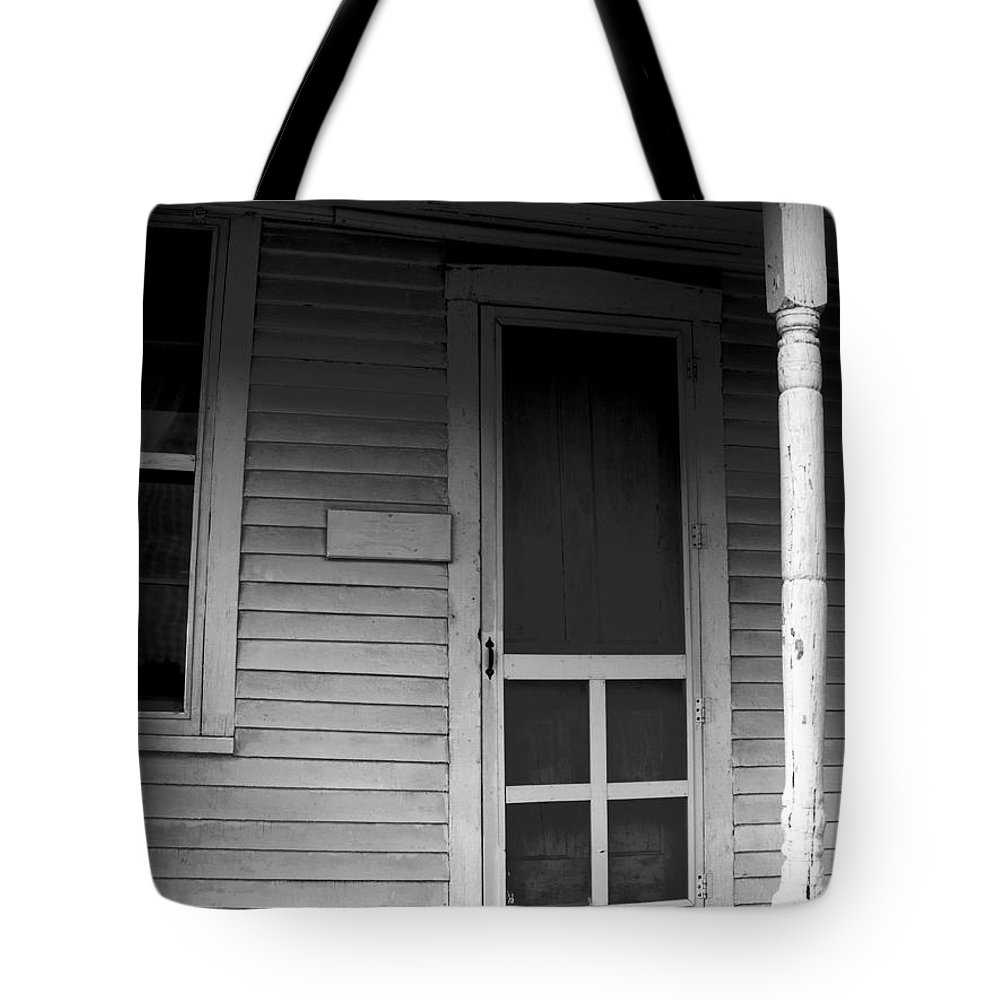 Crooked Tote Bag featuring the photograph Crooked Door by Ed Smith