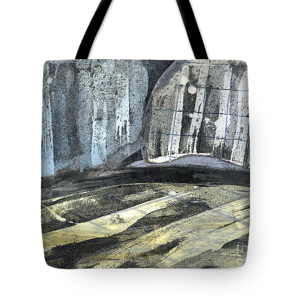 Abstract Painting Tote Bag featuring the painting Crops And Clouds Original Wax Encaustic Painting by Elizabetha Fox