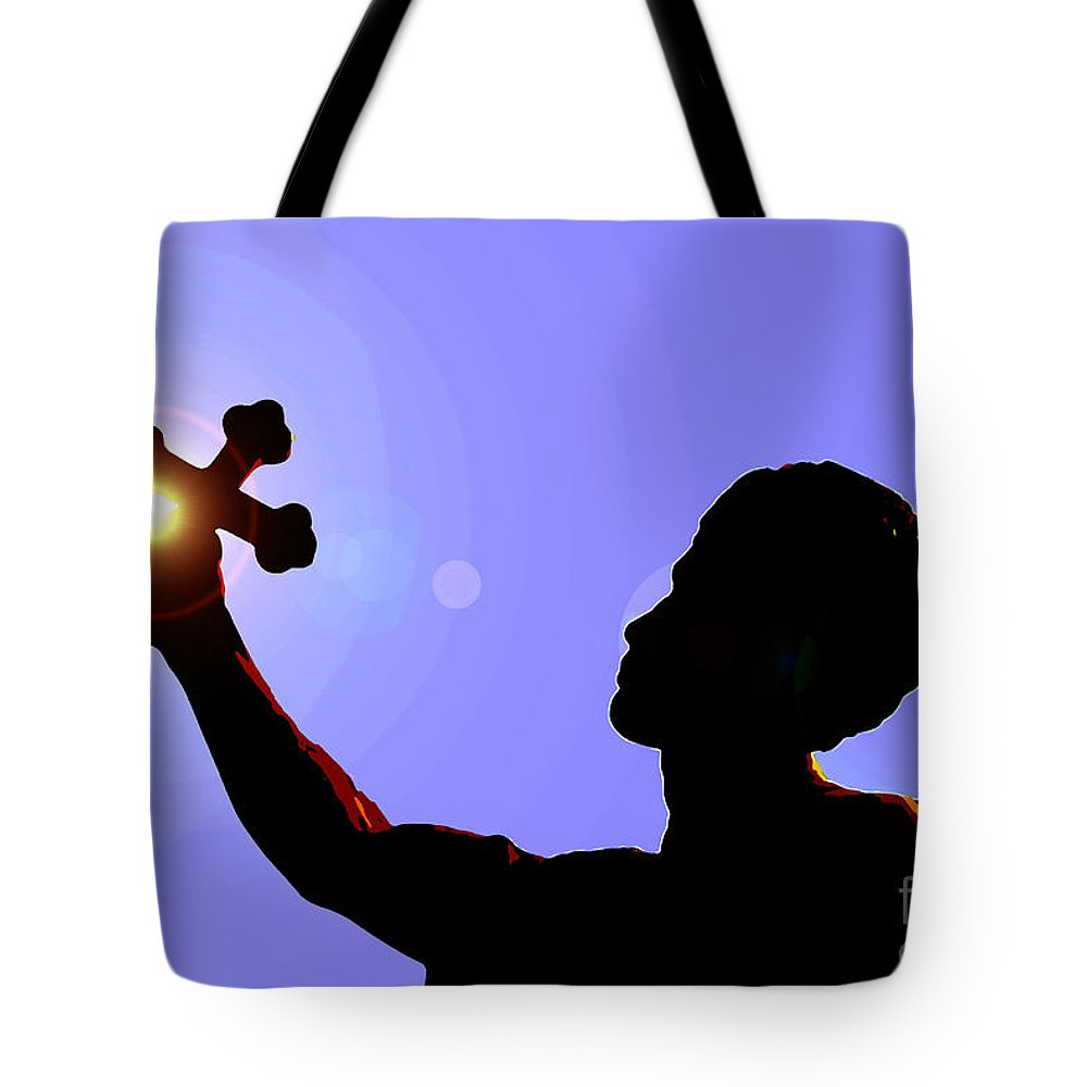 Cross Tote Bag featuring the painting Cross And Sun by David Lee Thompson