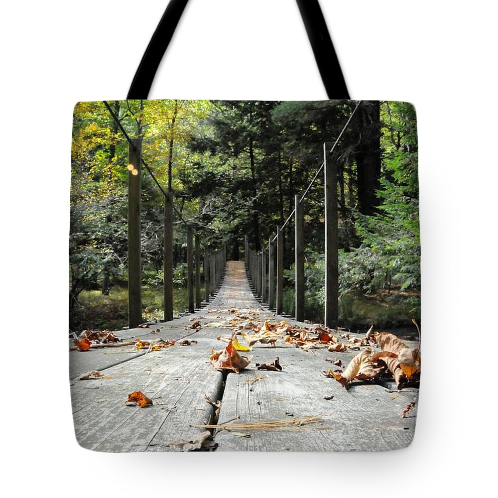 Bridge Tote Bag featuring the photograph Cross At Own Risk by Scott Hafer