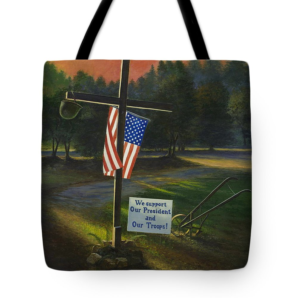 Cross Tote Bag featuring the painting Cross Of Remembrance by Randy Welborn