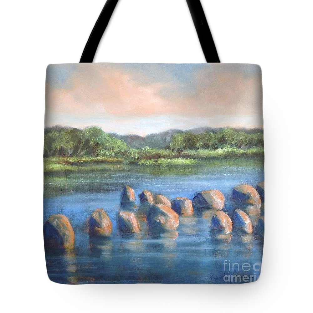 Clear Reflection Tote Bag featuring the painting Cross Of Rocks by Randy Burns
