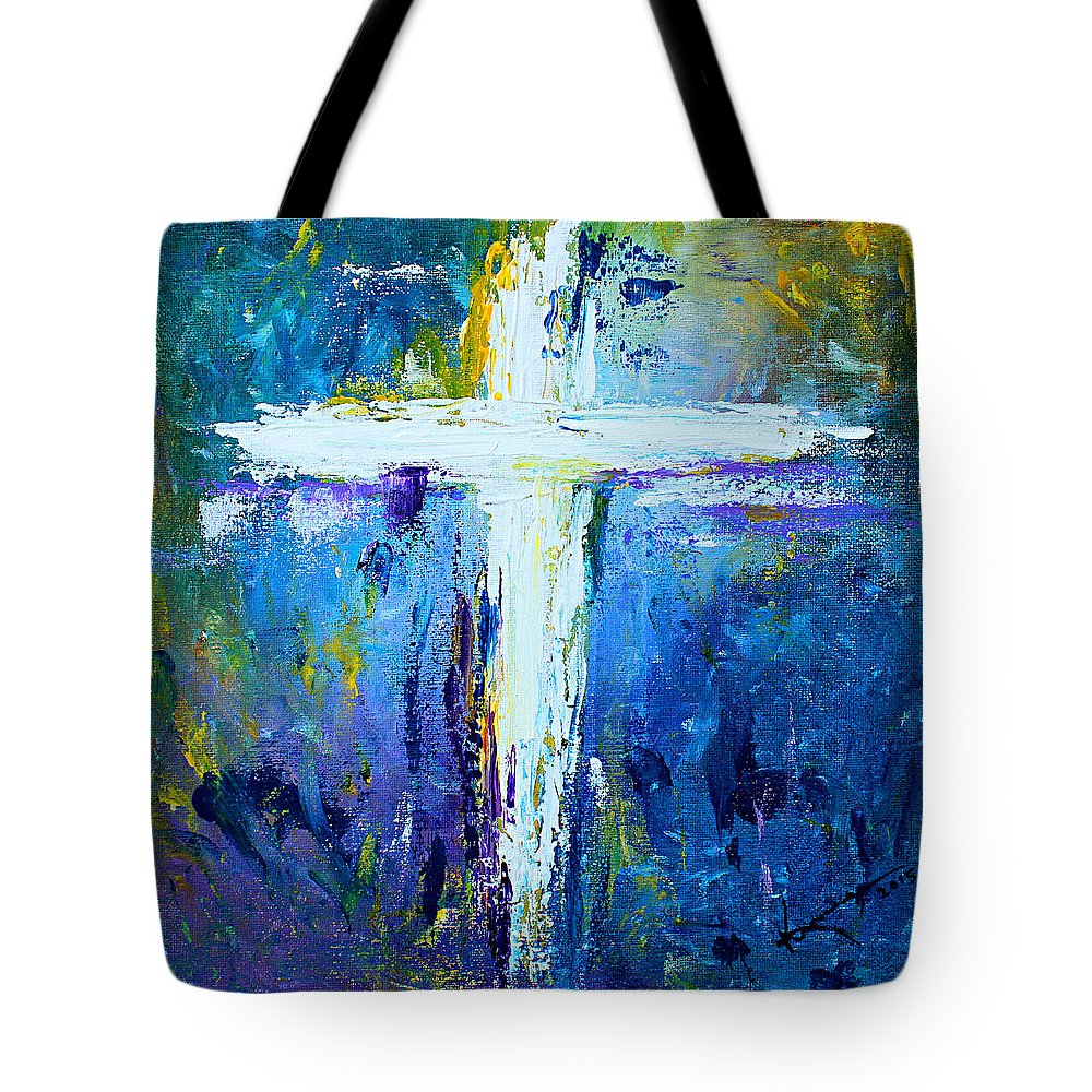 Christian Tote Bag featuring the painting Cross - Painting #4 by Kume Bryant
