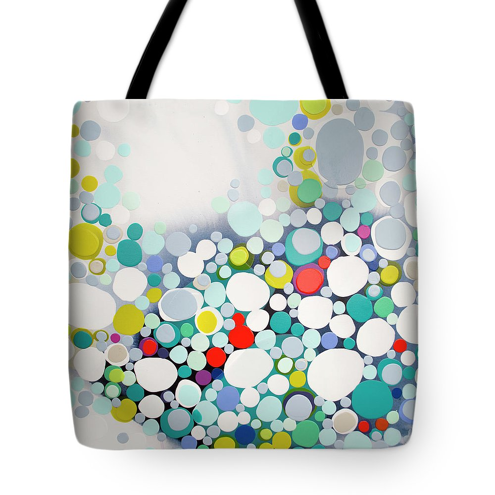 Abstract Tote Bag featuring the painting Cross The Line by Claire Desjardins