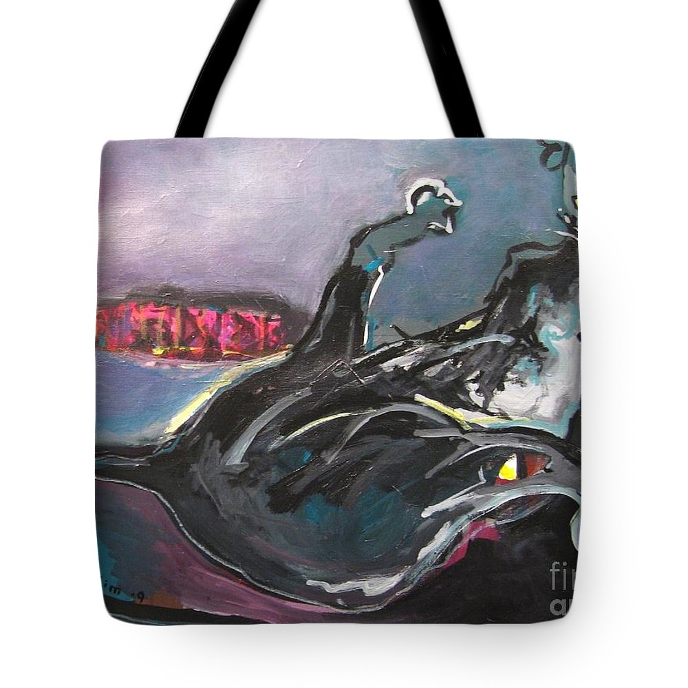 Cat Paintings Tote Bag featuring the painting Crossed Eyed Cat by Seon-Jeong Kim