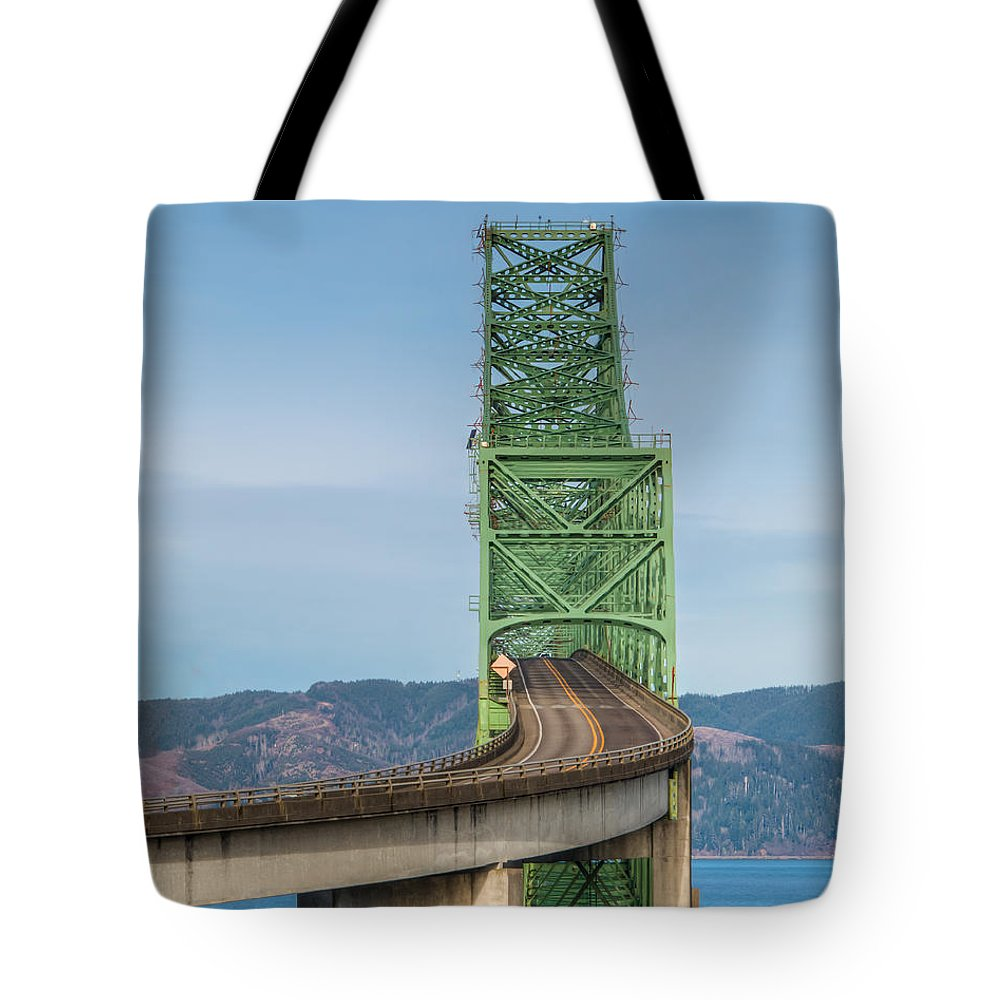 Astoria-megler Tote Bag featuring the photograph Crossing Columbia by Kristina Rinell
