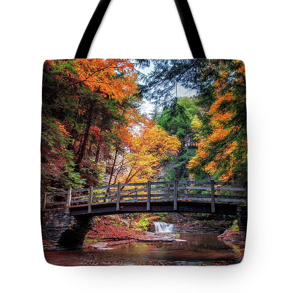 Waterfall Tote Bag featuring the photograph Crossing Over by Mark Papke