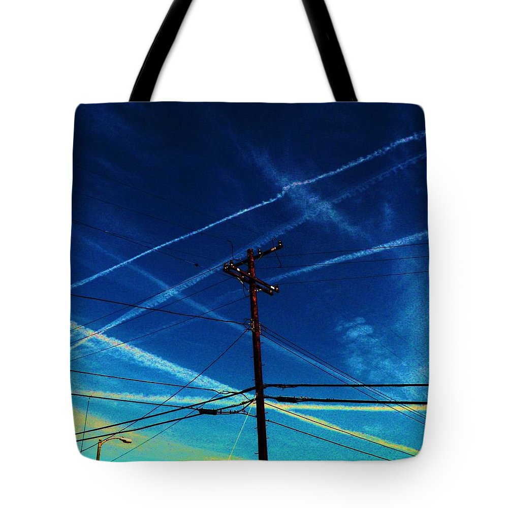 Chem Trails Tote Bag featuring the photograph Crossing Points by Daniele Smith