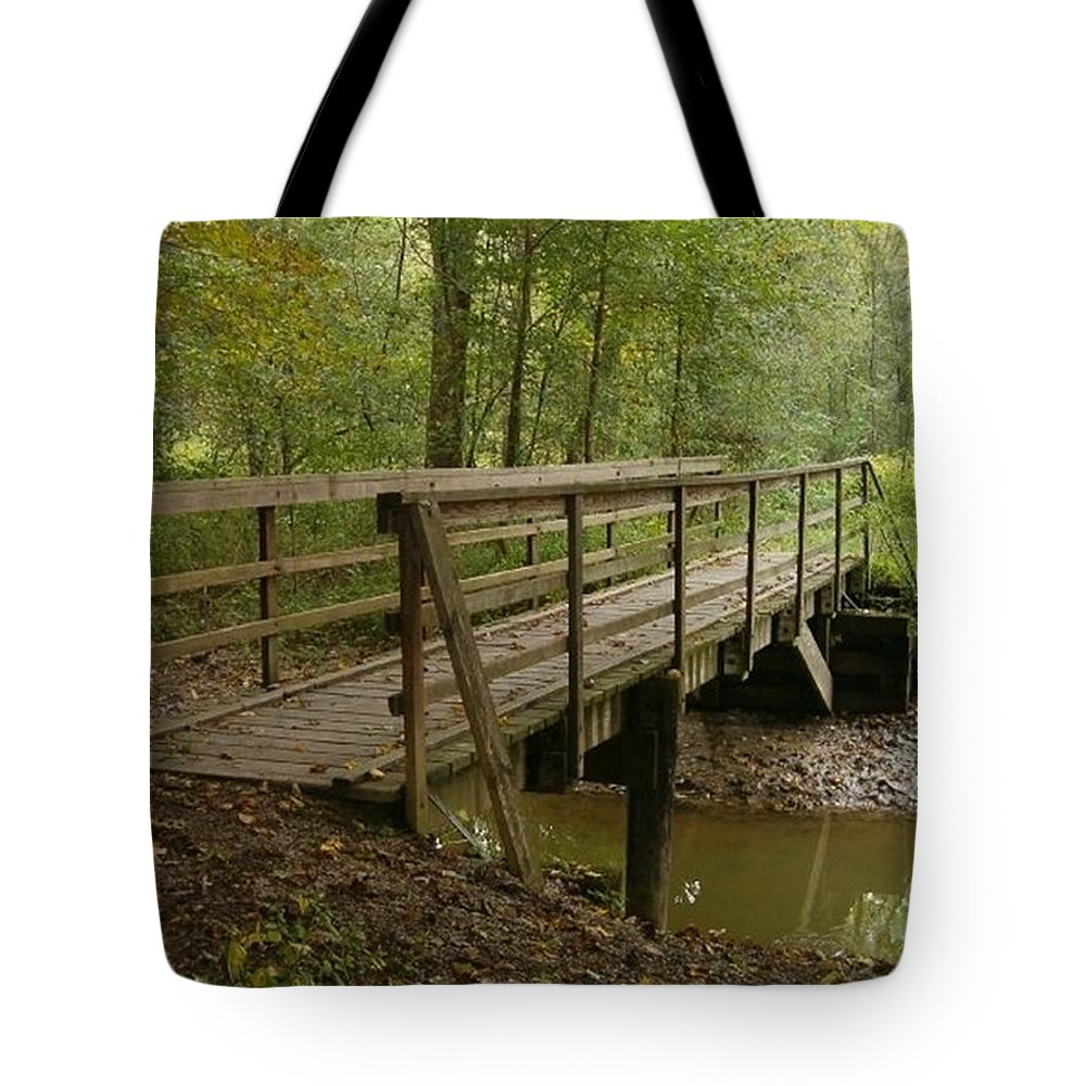 Bridge Tote Bag featuring the photograph Crossing by Sara Raber