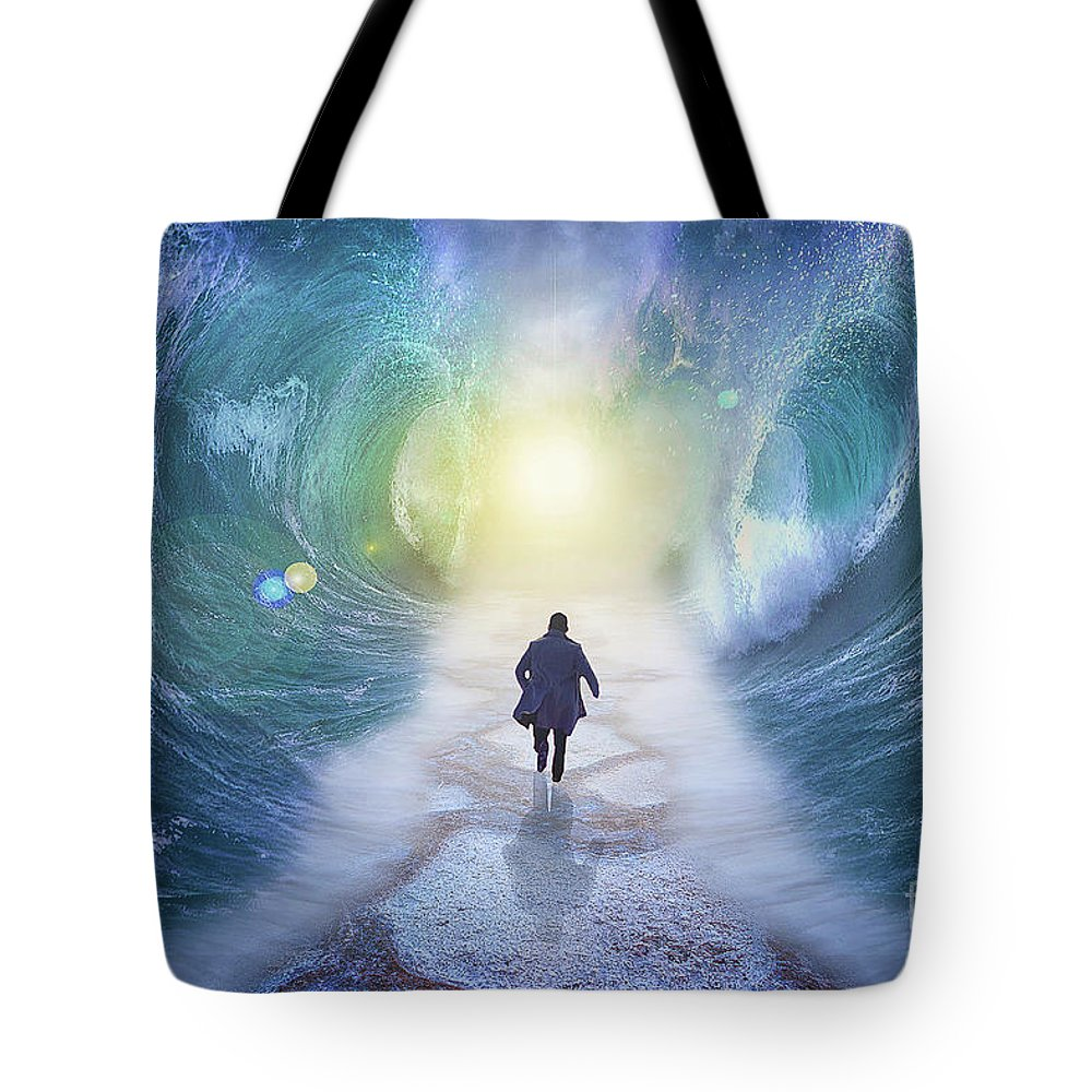 Sea Tote Bag featuring the digital art Crossing The Red Sea by Ivaylo Velikov