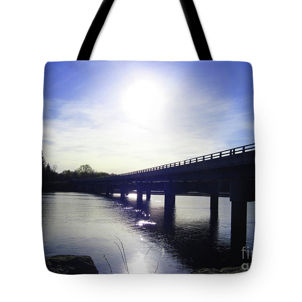 Wisconsin River Tote Bag featuring the photograph Crossing The Wisconsin River by Tommy Anderson