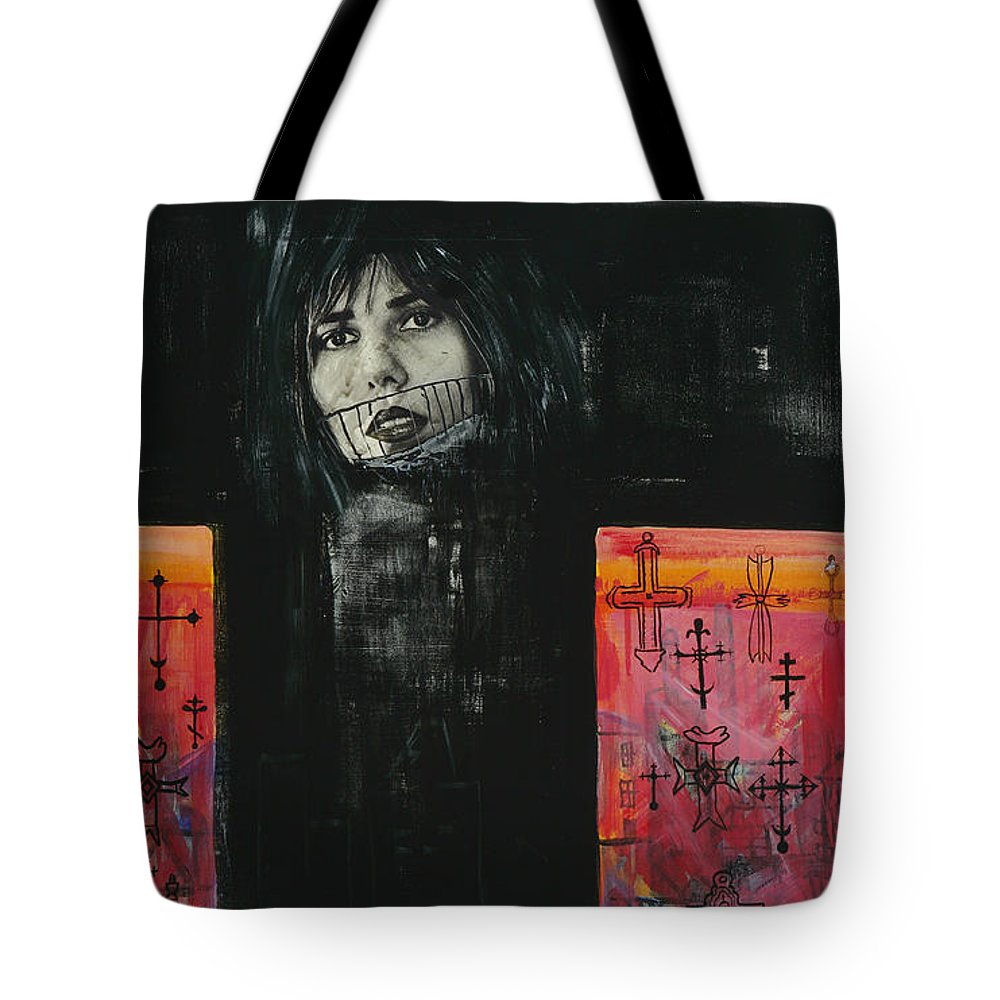 Cross Tote Bag featuring the painting Crossroad by Yelena Tylkina