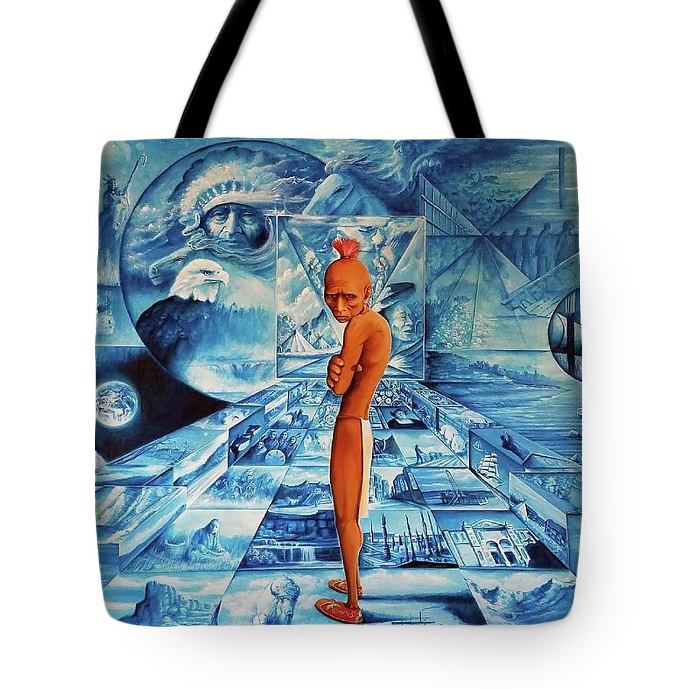 Native American Indian Art Tote Bag featuring the painting Crossroads by DC Houle