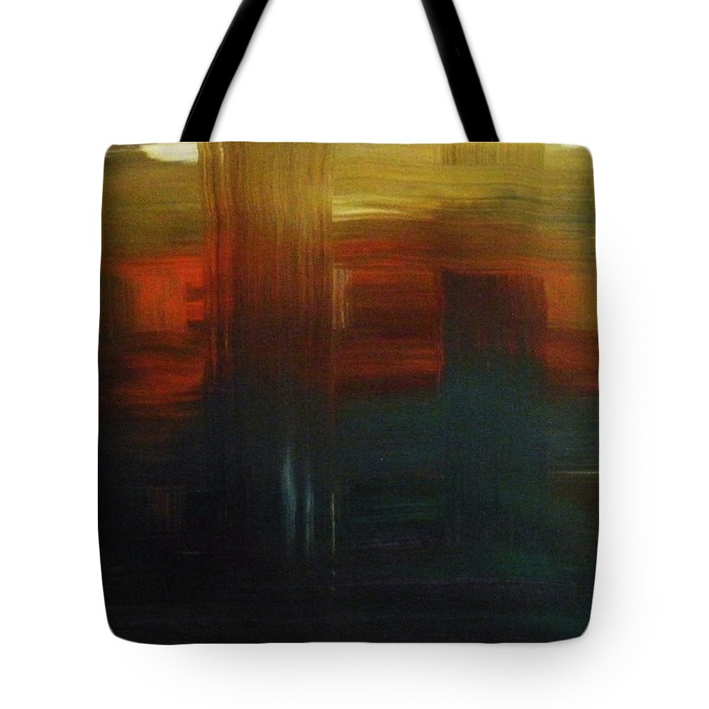 Abstract Tote Bag featuring the painting Crossroads by Todd Hoover