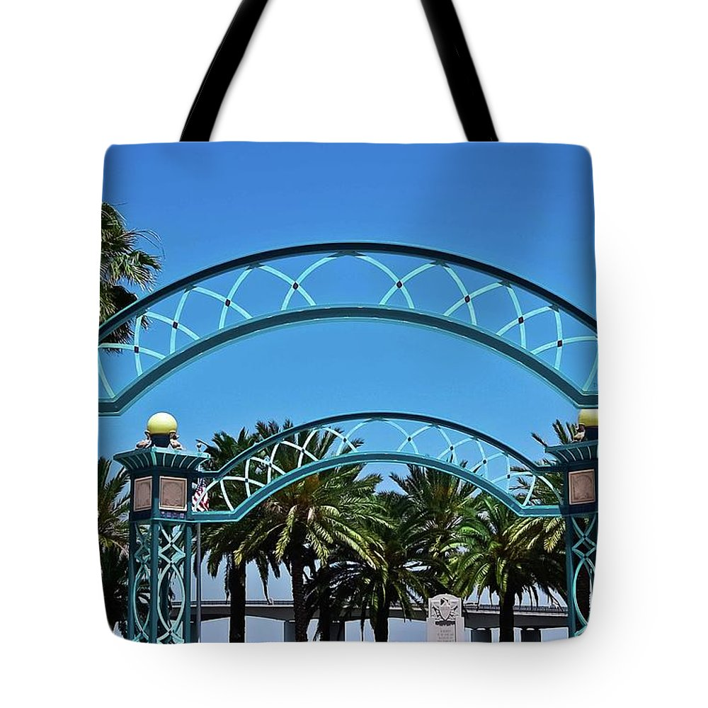 Arbors Tote Bag featuring the photograph Crosswalk Of Valor by DigiArt Diaries by Vicky B Fuller
