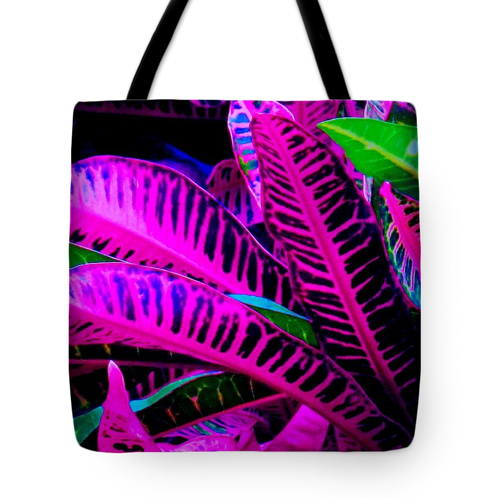 Croydon Plants Purple Green Tote Bag featuring the photograph Croton by Ian MacDonald
