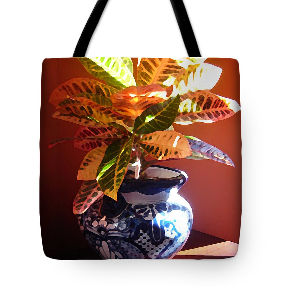 Potted Plant Tote Bag featuring the photograph Croton In Talavera Pot by Amy Vangsgard