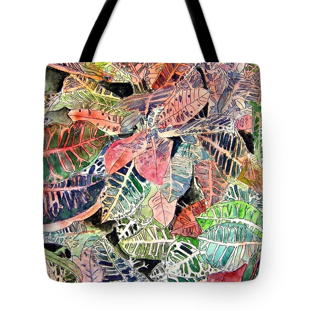 Croton Tote Bag featuring the painting Croton Tropical Art Print by Derek Mccrea