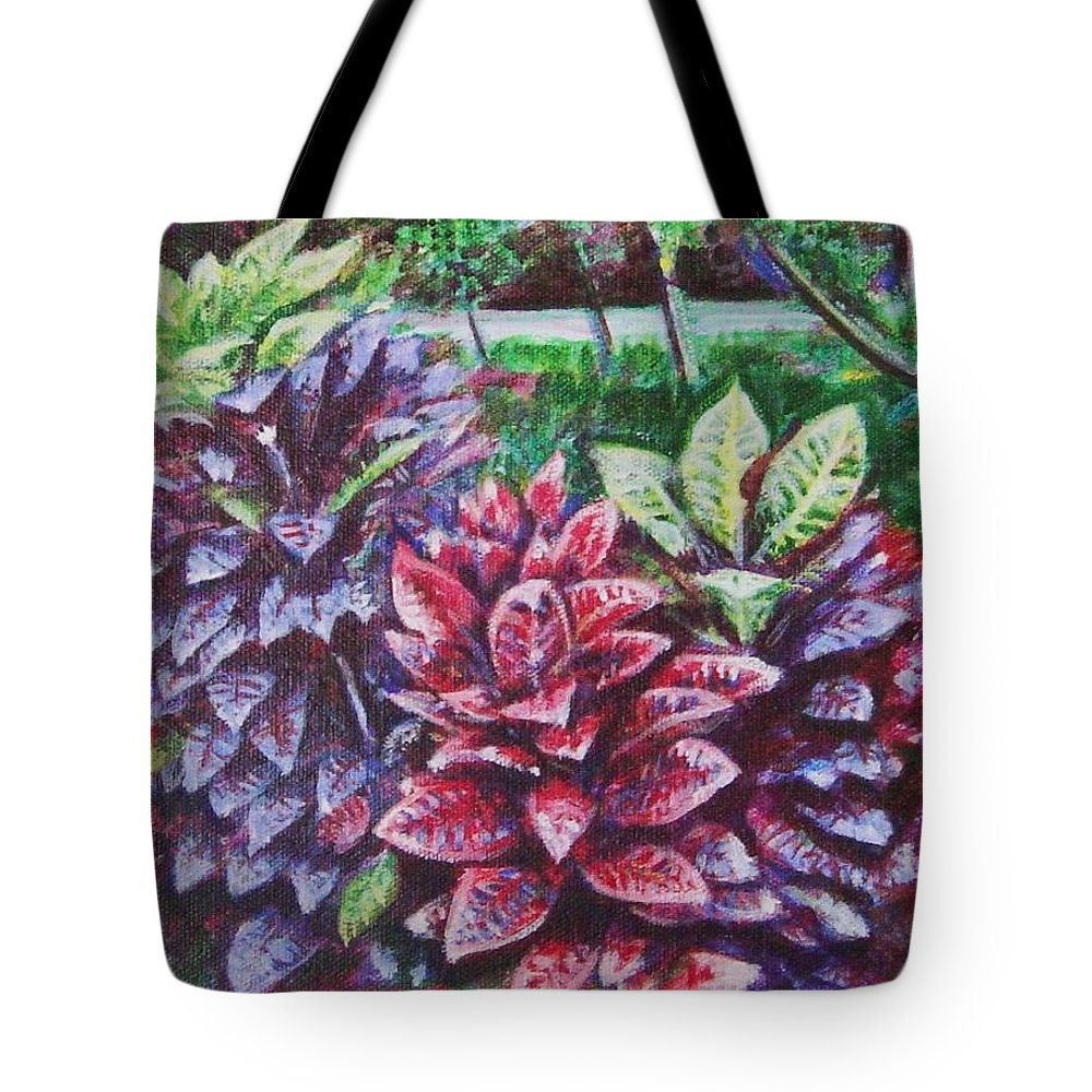 Landscape Tote Bag featuring the painting Crotons 1 by Usha Shantharam