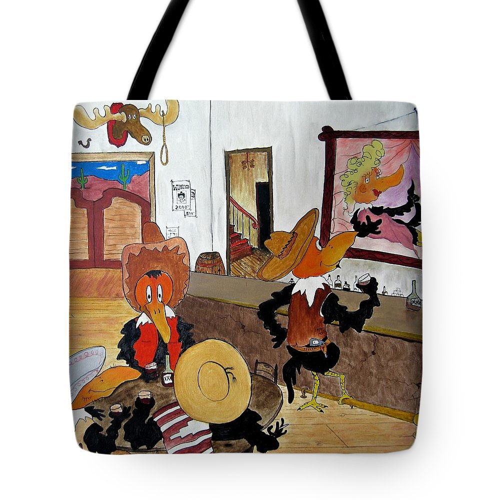 Ravens Tote Bag featuring the painting Crow - Bar by Patrick Trotter