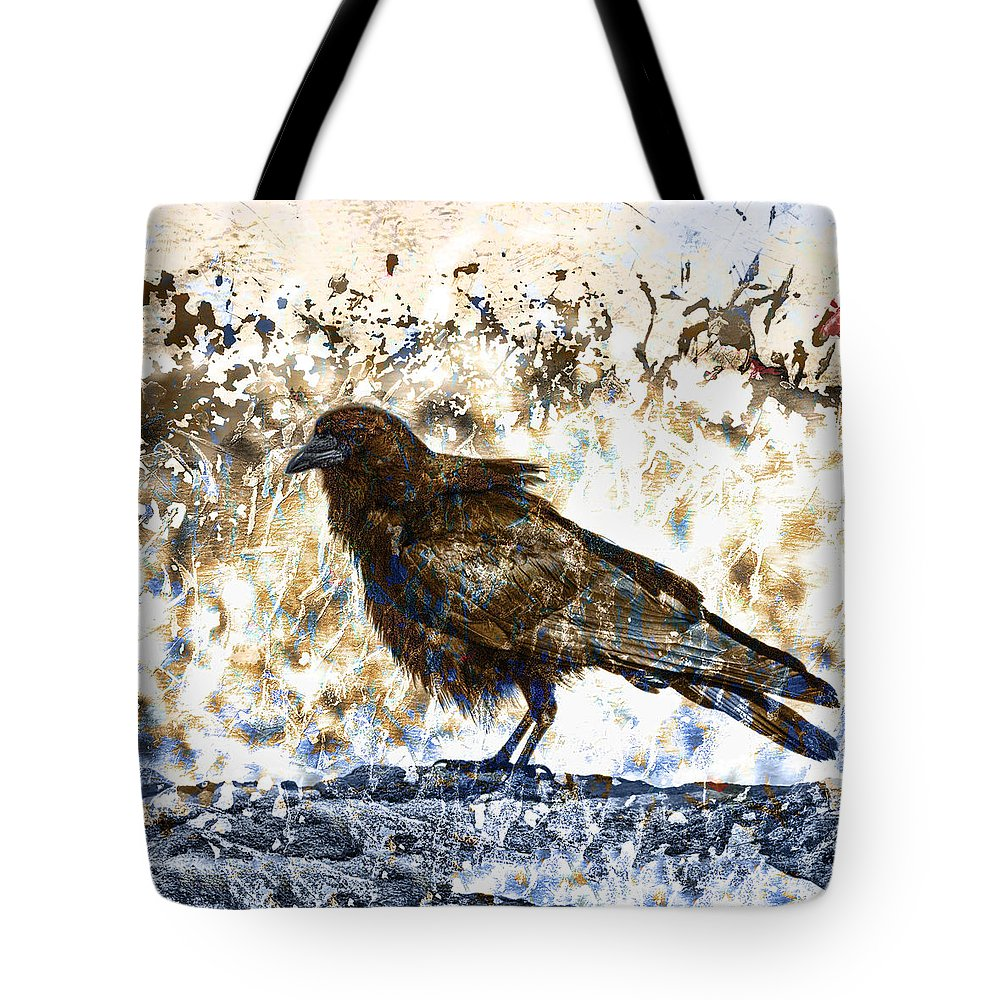 Crow Tote Bag featuring the photograph Crow On Blue Rocks by Carol Leigh