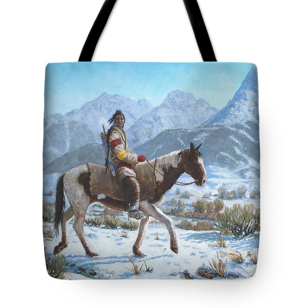 Crow Warrior Tote Bag featuring the painting Crow on the Yellowstone river by Scott Robertson