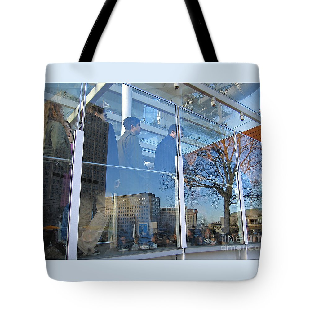 London Tote Bag featuring the photograph Crowd Queuing Up by Ann Horn