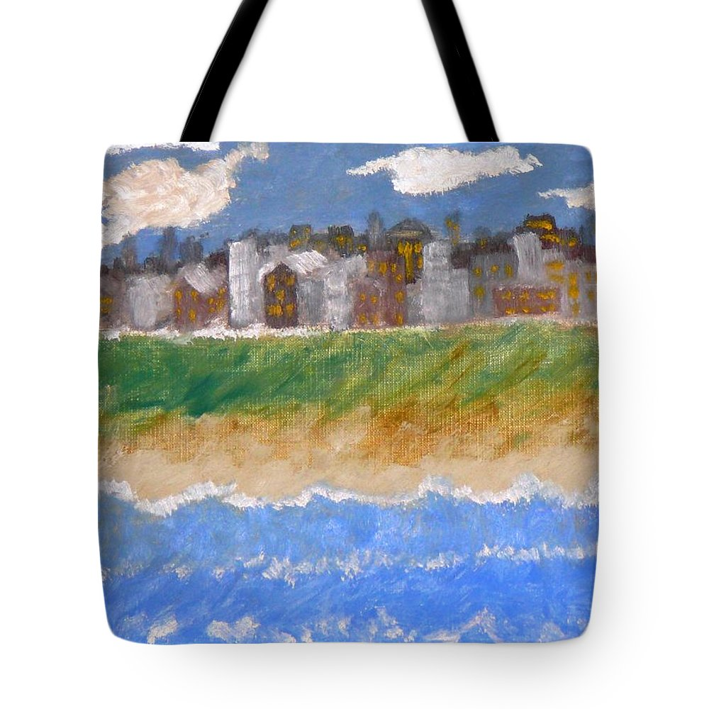 Seascape Tote Bag featuring the painting Crowded Beaches by R B