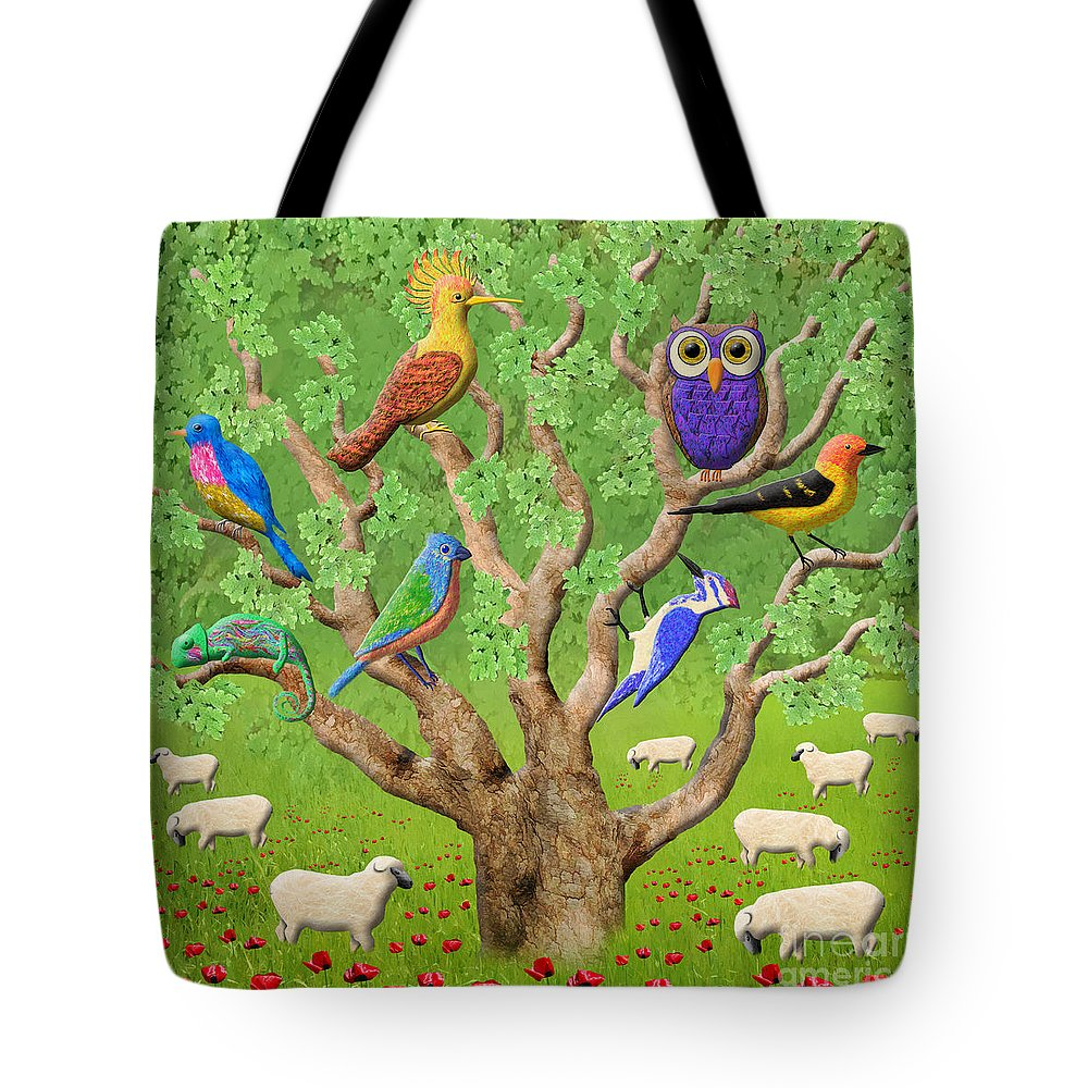 Tree Tote Bag featuring the digital art Crowded Tree by Grigorios Moraitis