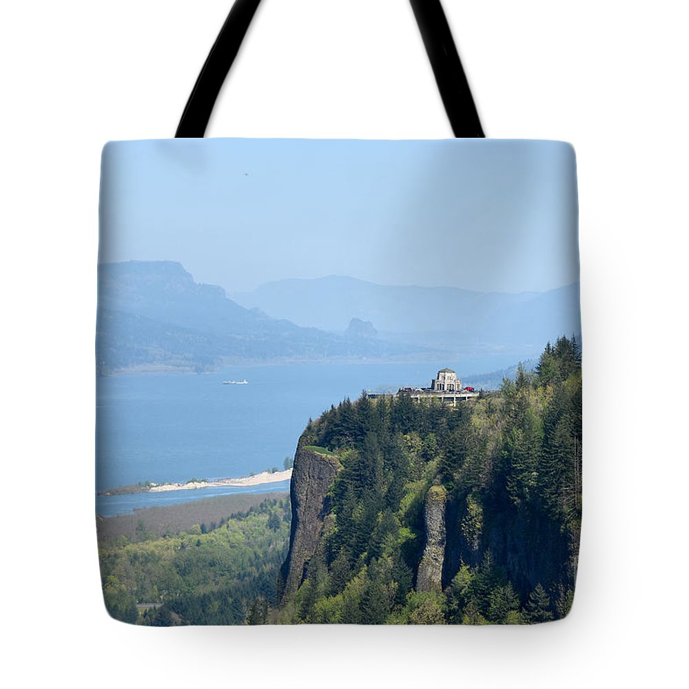 Crown Point-vista House Tote Bag featuring the photograph Crown Point Vista House by Scott Cameron