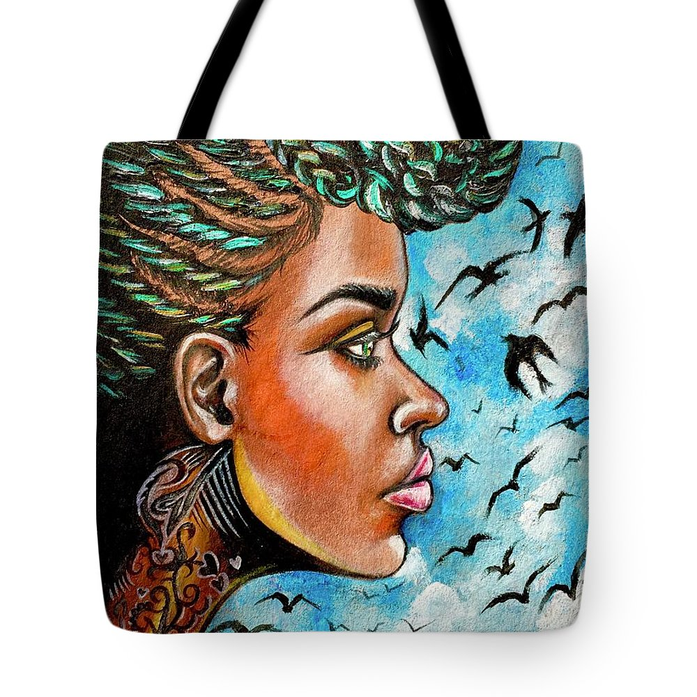 Ria Tote Bag featuring the painting Crowned Royal by Artist RiA