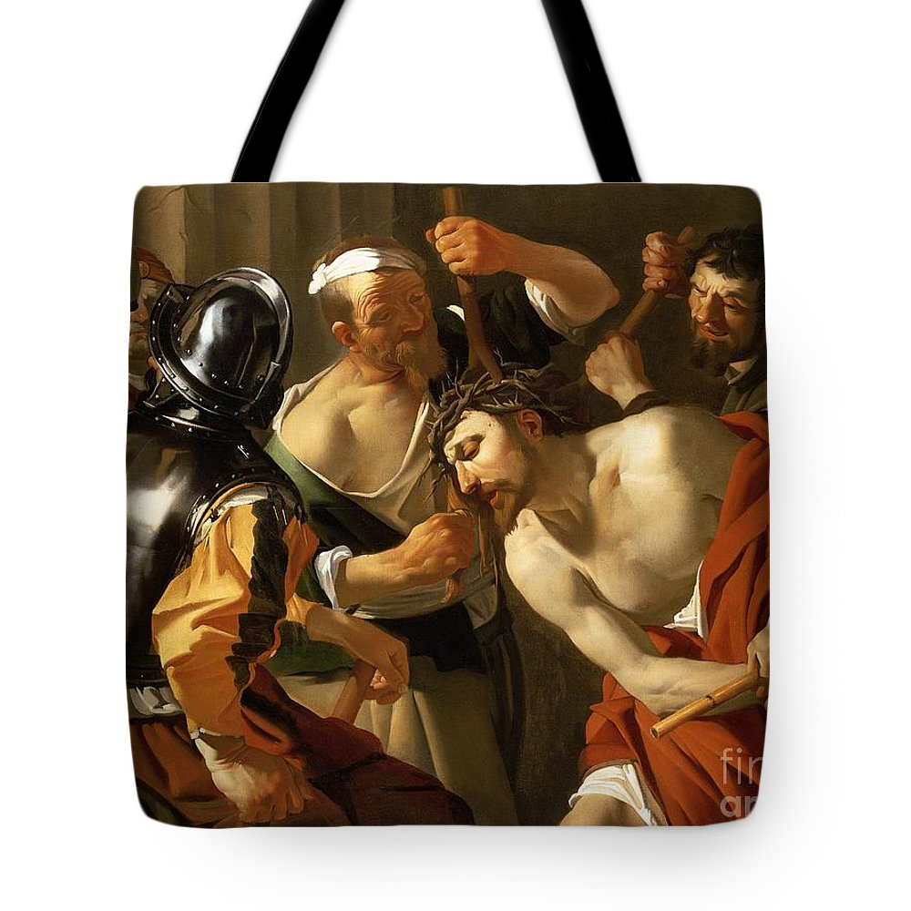 Crowning Tote Bag featuring the painting Crowning With Thorns by Dirck van Baburen