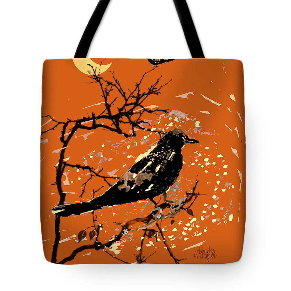 Crow Tote Bag featuring the digital art Crows On All Hallows Eve by Arline Wagner