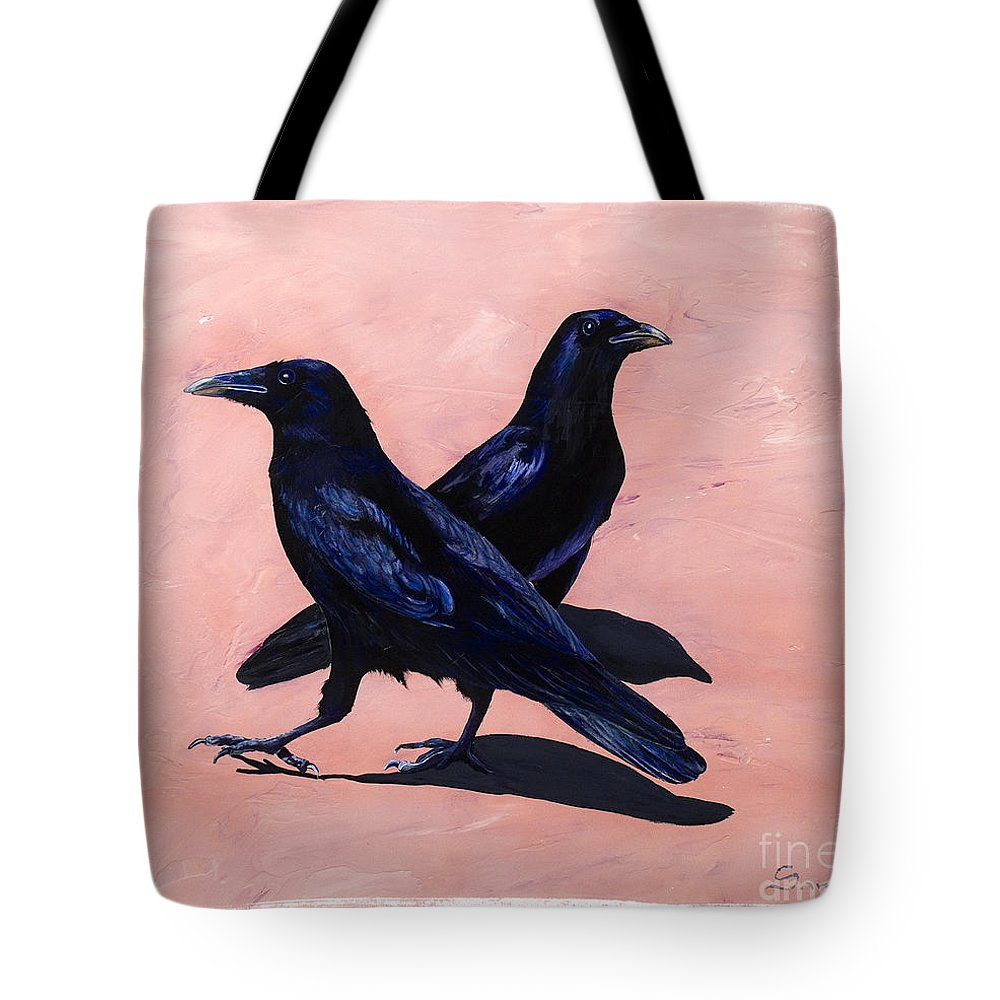 Crows Tote Bag featuring the painting Crows by Sandi Baker