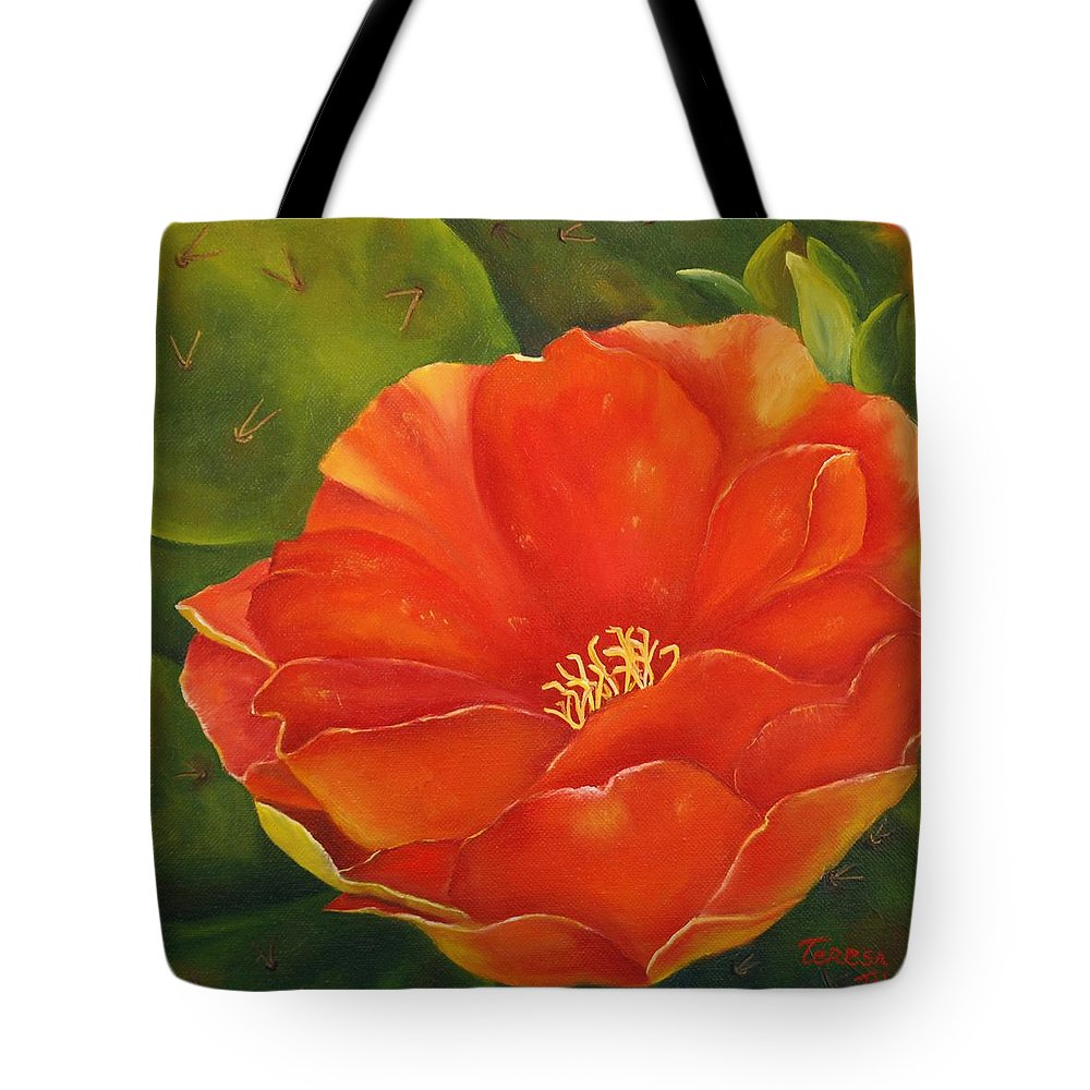Cactus Tote Bag featuring the painting Cruces Bloom by Teresa Lynn Johnson