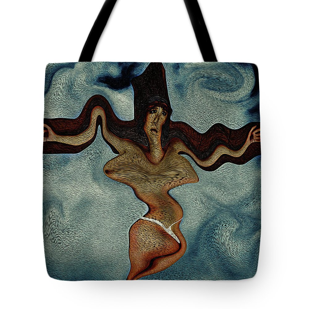 Crucifixion Tote Bag featuring the digital art Crucified Woman Surreal I by Ramon Martinez