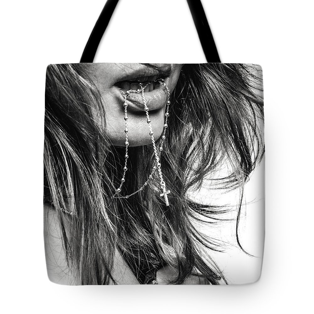 Blk And Wht Tote Bag featuring the photograph Crucifix And Teeth #2 by Jae Feinberg