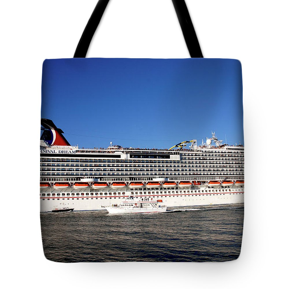 Cruise Ship Tote Bag featuring the photograph Cruise Ship Is Leaving The Port by Susanne Van Hulst