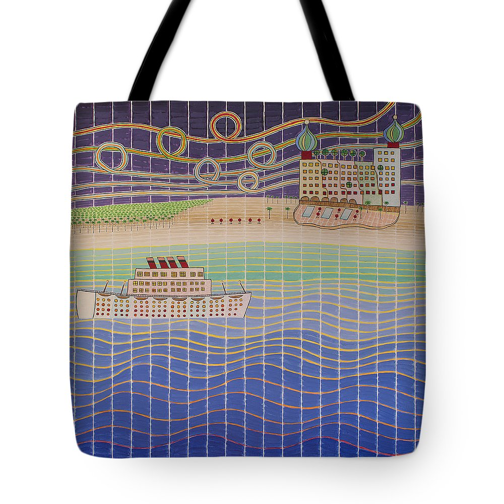 3d Tote Bag featuring the painting Cruise Vacation Destination by Jesse Jackson Brown