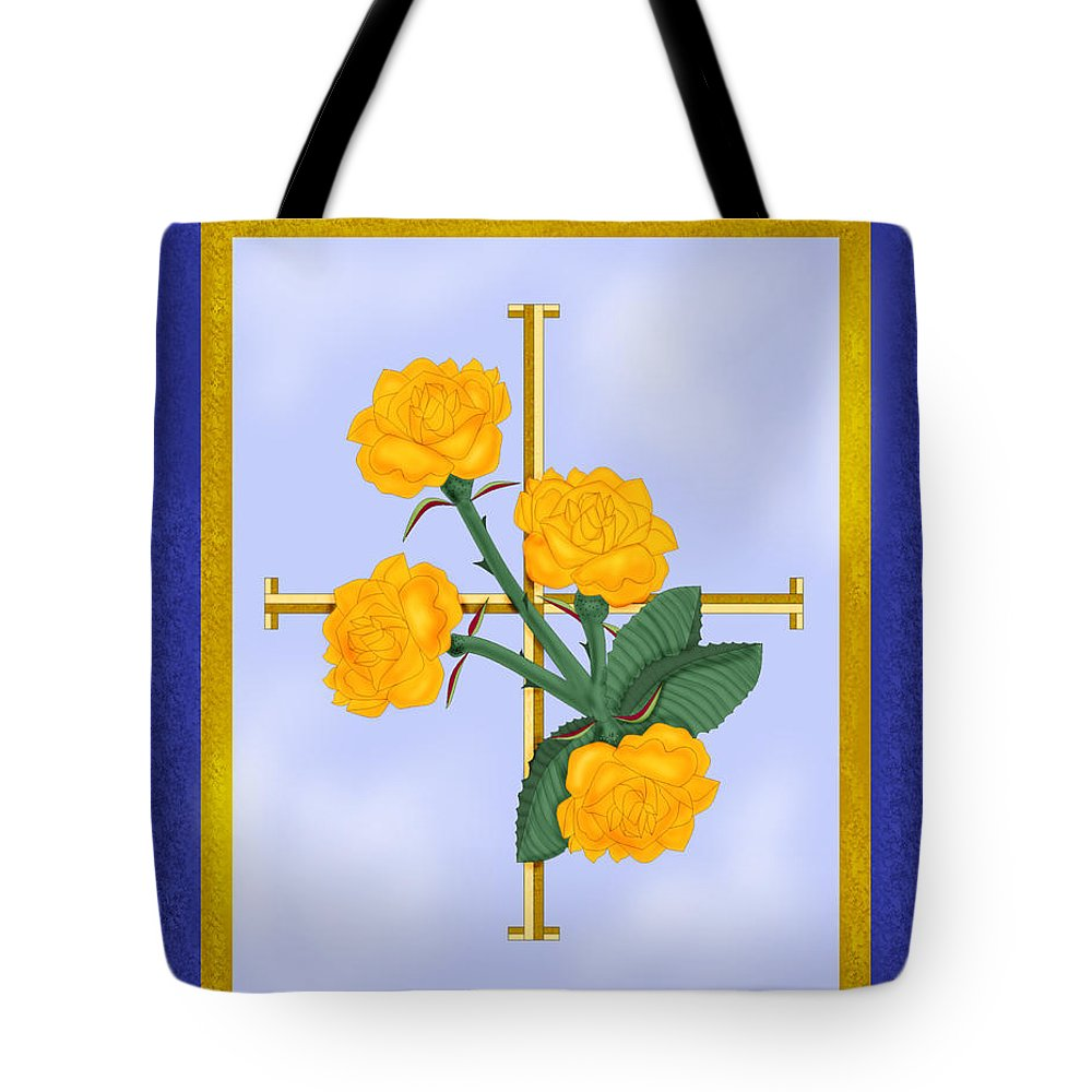 Golden Roses Tote Bag featuring the painting Crusader Cross And Four Gospel Roses by Anne Norskog