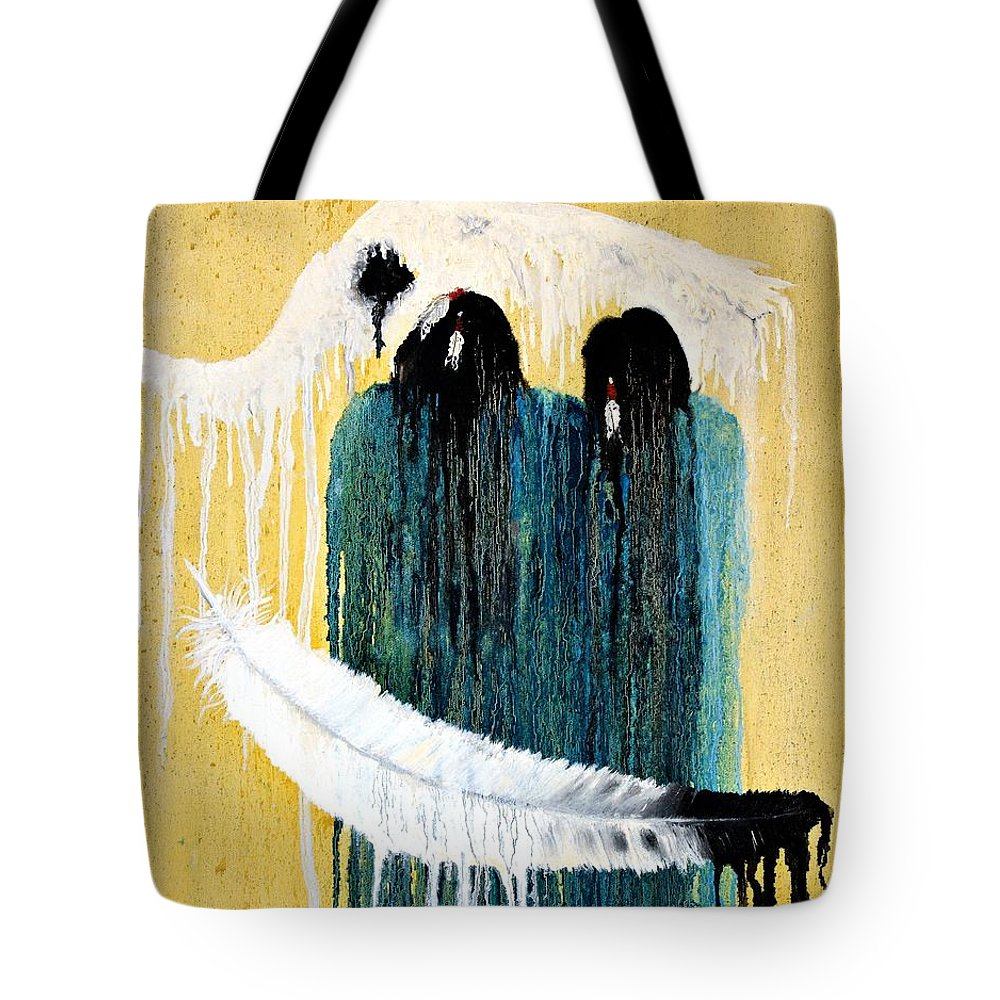 Native American Tote Bag featuring the painting Crying For A Vision by Patrick Trotter