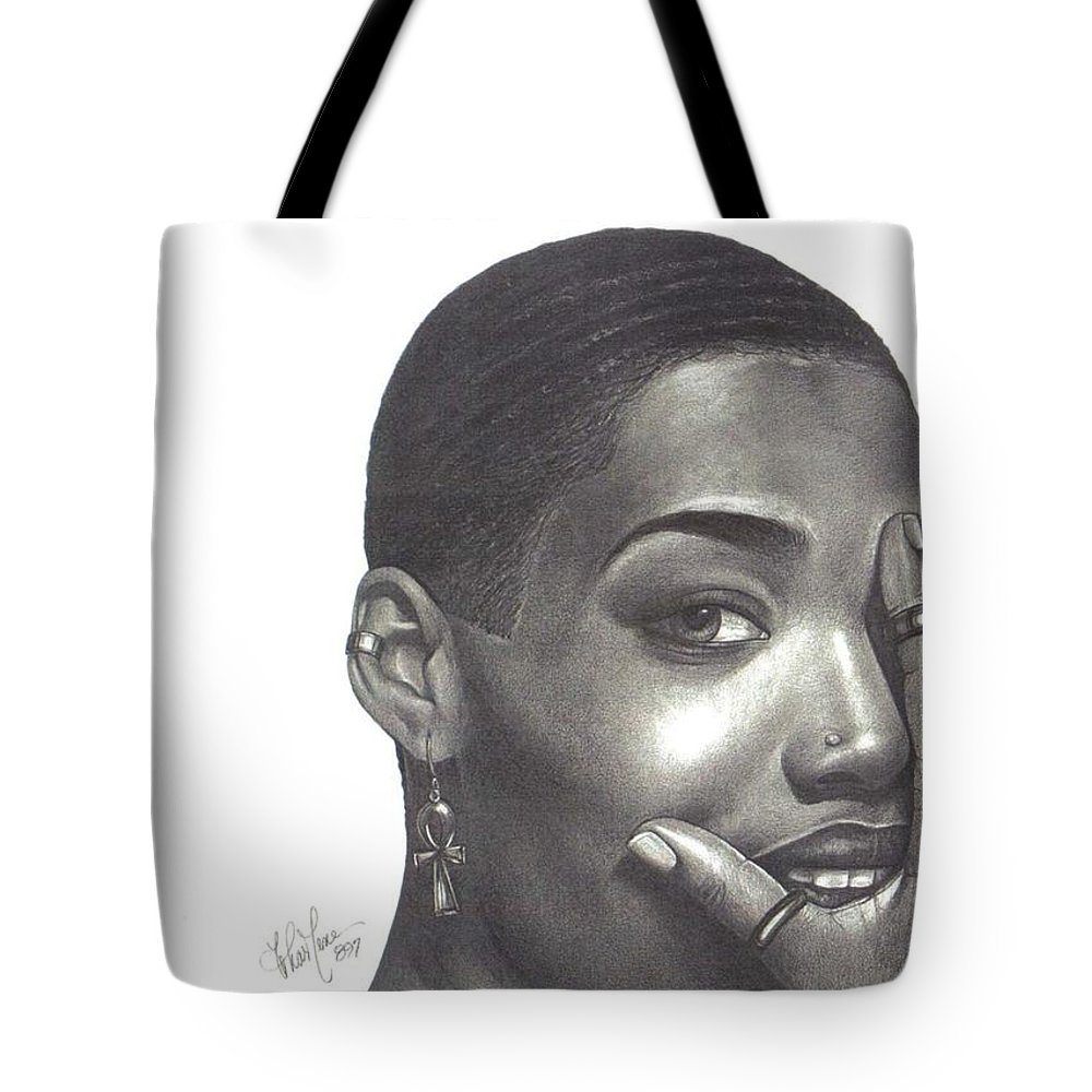 Woman Tote Bag featuring the drawing Crystal Blaque by Chamar Cooper