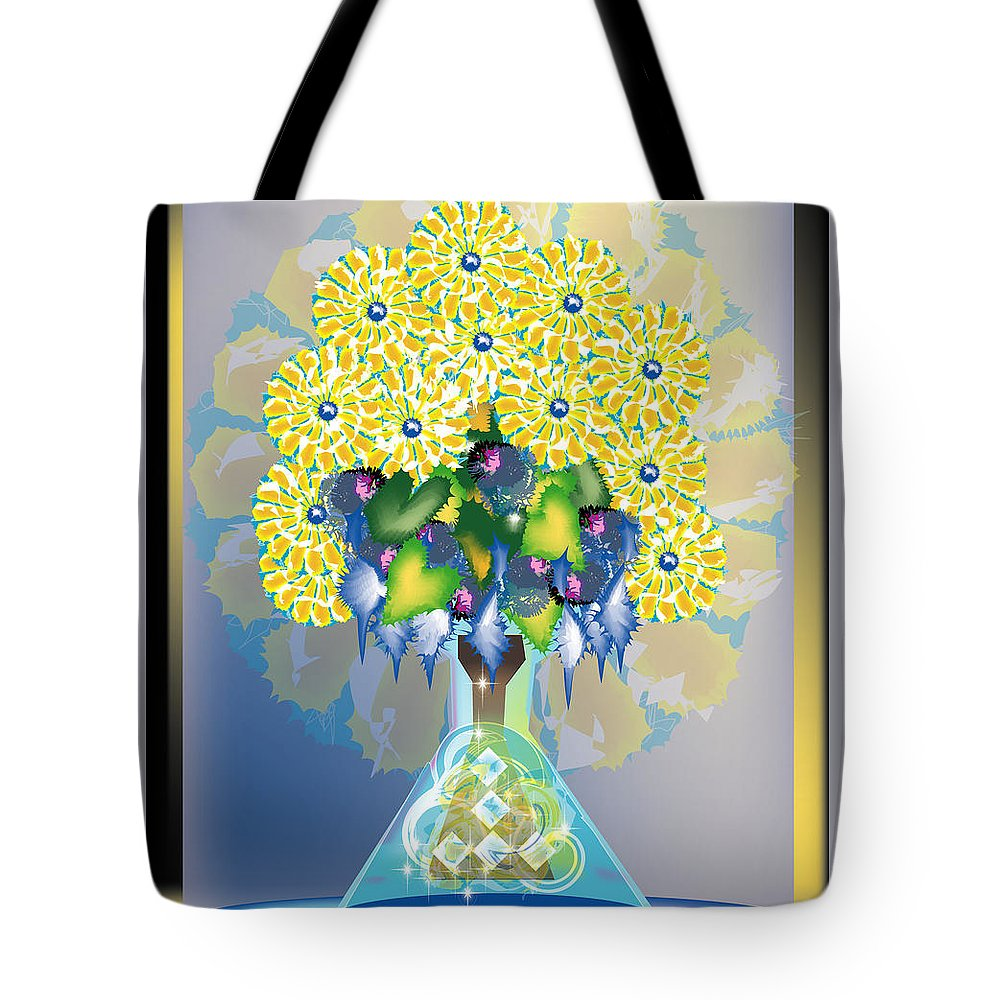 Flowers Tote Bag featuring the digital art Crystal Boquet by George Pasini