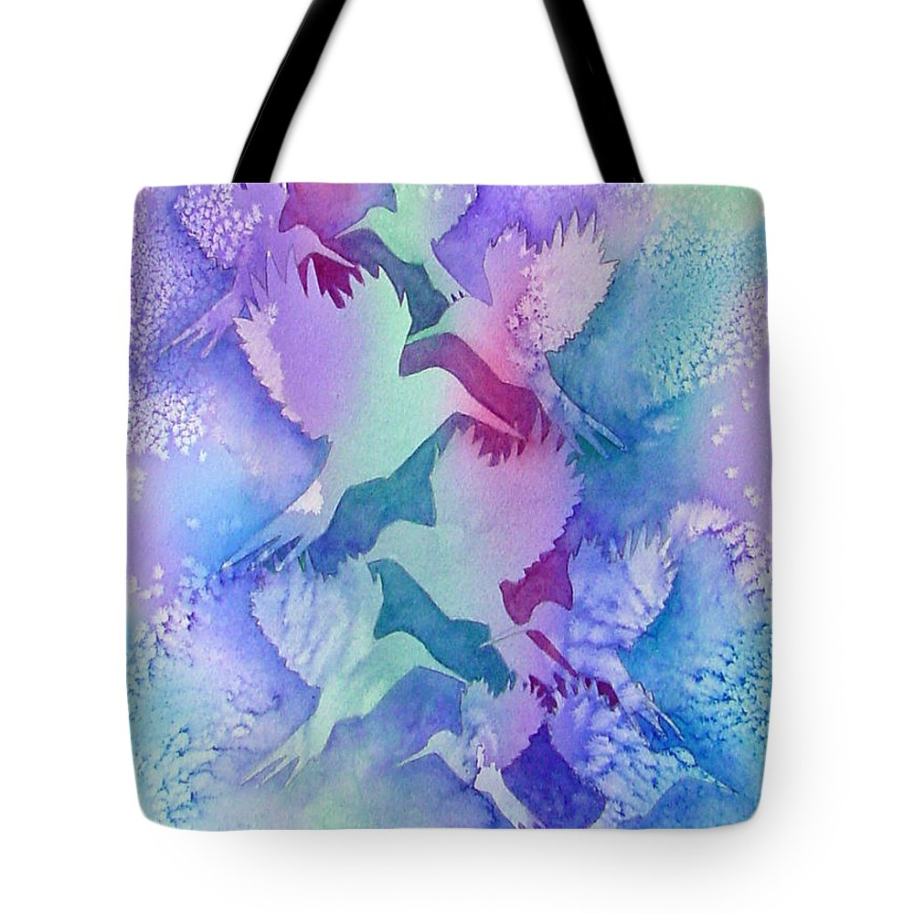 Birds Tote Bag featuring the painting Crystal Migration by Marsha Elliott